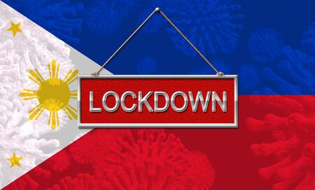 Philippines lockdown or shutdown preventing coronavirus epidemic outbreak. Covid 19 Pilipinas aim to lock down disease infection - 3d Illustration Standard-Bild