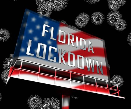 Florida lockdown means confinement from coronavirus covid-19. Miami solitary seclusion from virus with stay home restriction - 3d Illustration