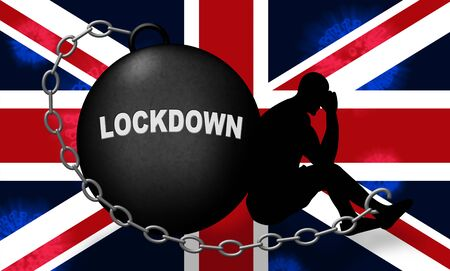 United Kingdom lockdown emergency preventing coronavirus spread or outbreak. Covid 19 UK precaution to lock down virus infection - 3d Illustration