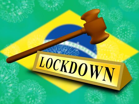 Brazil lockdown in solitary confinement or stay home. Brazilian lock down from covid-19 pandemic - 3d Illustration Standard-Bild