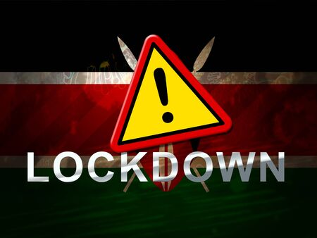 Kenya lockdown against coronavirus covid-19. Kenyan stay home order to enforce self isolation and stop infection - 3d Illustration Standard-Bild