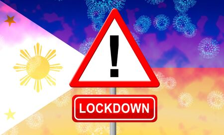 Philippines lockdown or shutdown to stop coronavirus epidemic outbreak. Covid 19 Pilipinas aim to lock down disease infection - 3d Illustration Standard-Bild