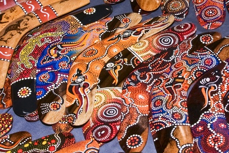 boomerangs: A colorful display of boomerangs in Melbourne, Australia Stock Photo