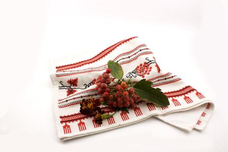 rowanberry: rowanberry on embroidery Stock Photo