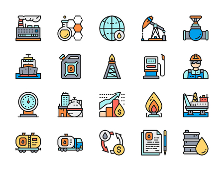 Set of oil and petrol industry flat color line icons. Fuel truck, petroleum wagon, pumping station, gas stove, factory, chemical plant, industrial building, engineer, gasoline, cargo ship, valve and more. Illustration
