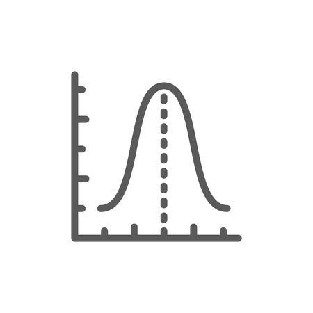 Vector gauss histogram function graph, parabola line icon. Symbol and sign illustration design. Isolated on white background
