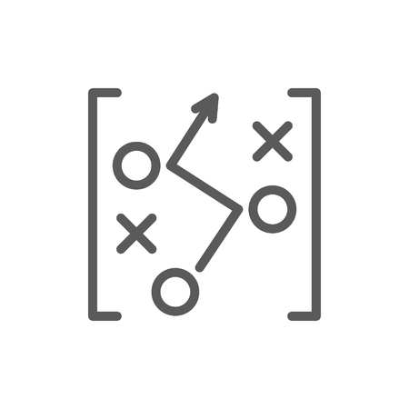 Vector soccer game strategy scheme, drawing line icon. Symbol and sign illustration design. Isolated on white background