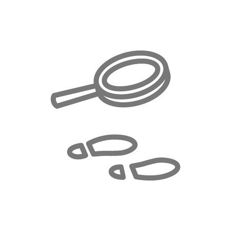 Vector traces under magnifying glass line icon. Symbol and sign illustration design. Isolated on white background  イラスト・ベクター素材