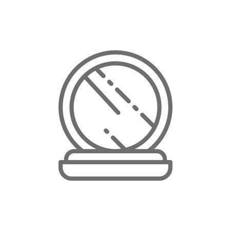 Poudre de maquillage compacte vectorielle, palette de fard à joues en cas d'icône de ligne de miroir. Conception d'illustration de symbole et de signe. Isolé sur fond blanc Vecteurs