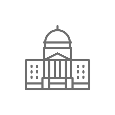 Vector White House, courthouse line icon. Symbol and sign illustration design. Isolated on white background