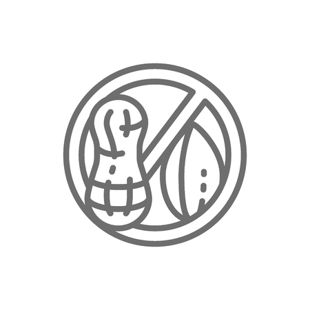 Vector forbidden sign with peanut, groundnut free, nut allergy line icon. Symbol and sign illustration design. Isolated on white background Illustration