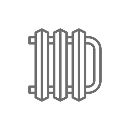 Vector central heating battery, radiator line icon. Symbol and sign illustration design. Isolated on white background
