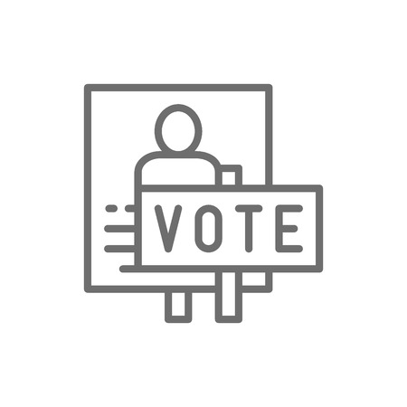 Vector presidential election poster, voting banners, demonstration, protest line icon. Symbol and sign illustration design. Isolated on white background
