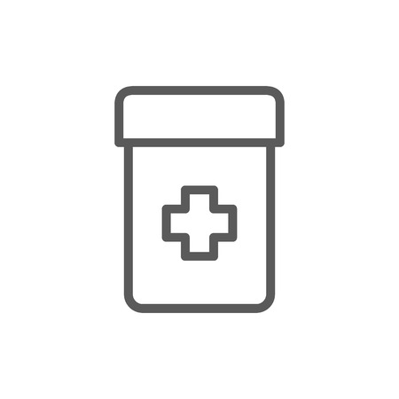 Vector jar of medicine line icon. Symbol and sign illustration design. Isolated on white background
