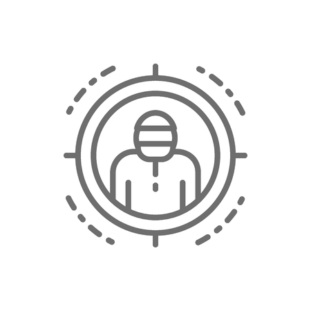 Vector criminal in sniper scope, target for shooting line icon. Symbol and sign illustration design. Isolated on white background