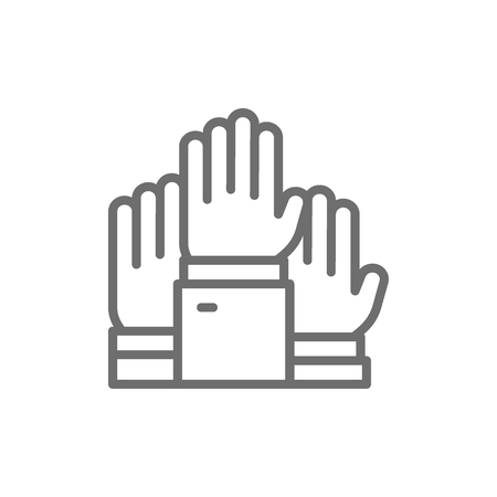Vector hands raised up, election, voting, volunteer line icon. Symbol and sign illustration design. Isolated on white background
