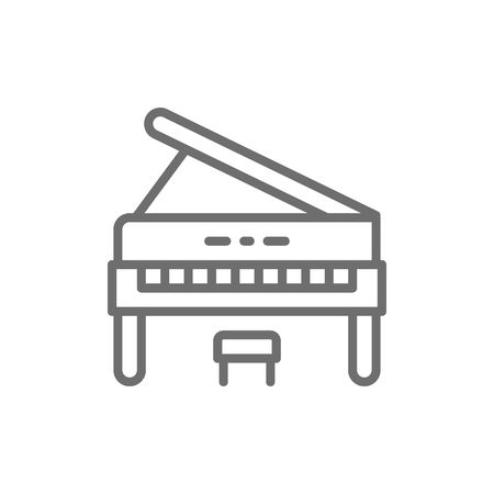 Vector upright piano, music instrument line icon. Symbol and sign illustration design. Isolated on white background 向量圖像