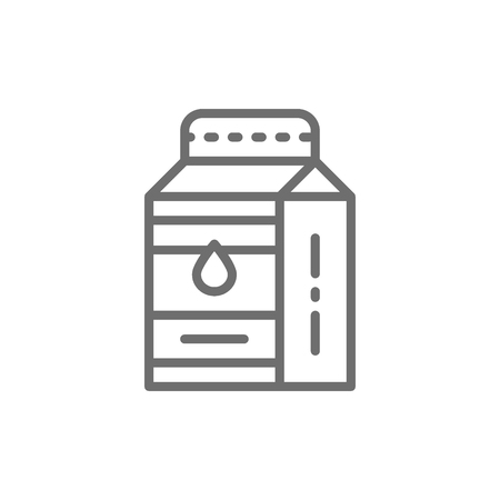 Vector milk, kefir in paper box line icon. Symbol and sign illustration design. Isolated on white background