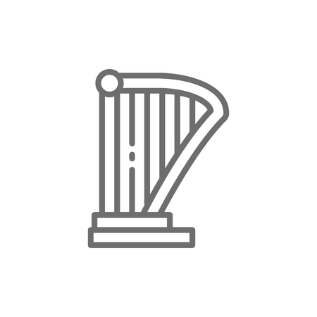 Vector harp, lyre, music instrument line icon. Symbol and sign illustration design. Isolated on white background
