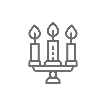 Vector candlestick, chandelier with candles line icon. Symbol and sign illustration design. Isolated on white background