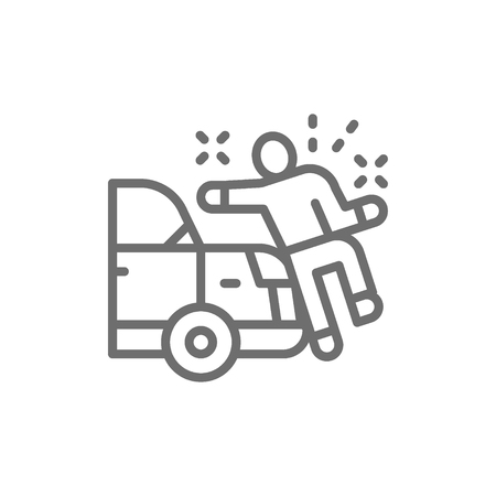Vector car knocks down a man, crash line icon. Symbol and sign illustration design. Isolated on white background