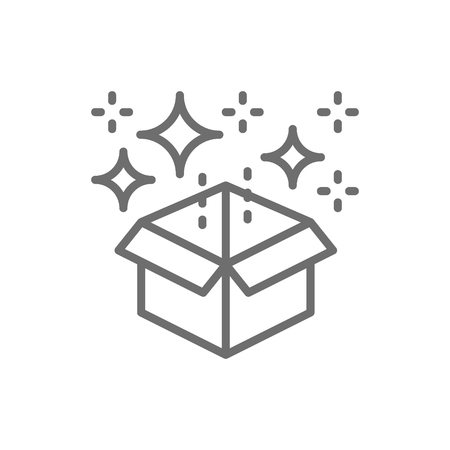 Vector magic box with confetti, gift line icon. Symbol and sign illustration design. Isolated on white background