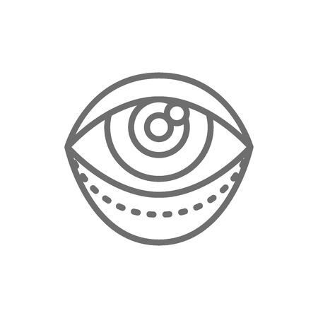 Vector blepharoplasty, eyelid plastic surgery, surgical facial rejuvenation line icon. Symbol and sign illustration design. Isolated on white background