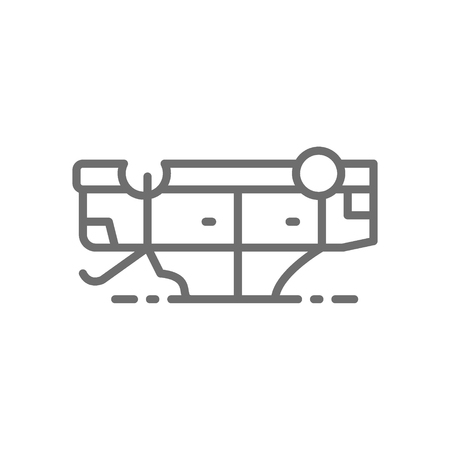 Vector car flipped over, automobile turned over after accident line icon. Symbol and sign illustration design. Isolated on white background