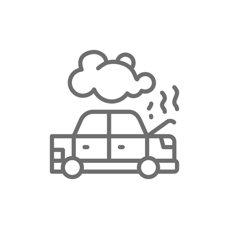Vector car broke down, automobile smoking under hood, accident line icon. Symbol and sign illustration design. Isolated on white background Vettoriali