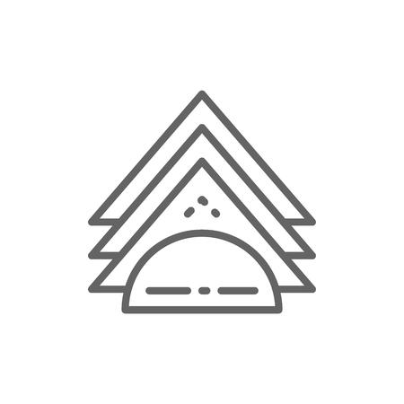 Napkin holder line icon. Isolated on white background