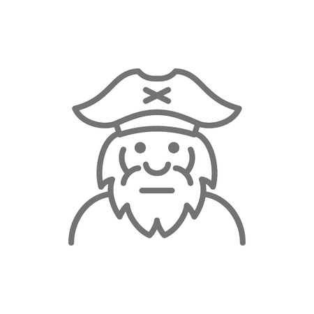 Vector captain, sailor, pirate, old man line icon. Symbol and sign illustration design. Isolated on white background Illustration