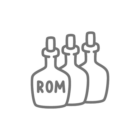 Vector bottles of rum, alcohol, drink container line icon. Symbol and sign illustration design. Isolated on white background