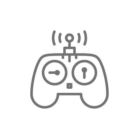 Vector control panel for drone, remote controller, gamepad line icon. Symbol and sign illustration design. Isolated on white background