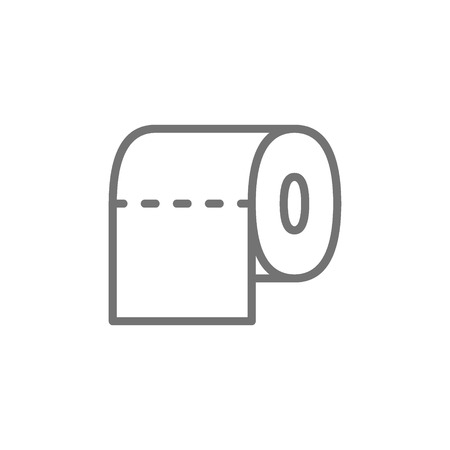 Vector toilet paper, bathroom line icon. Symbol and sign illustration design. Isolated on white background