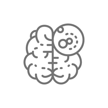 Vector brain cancer, malignant tumor, oncologyline icon. Symbol and sign illustration design. Isolated on white background Illustration