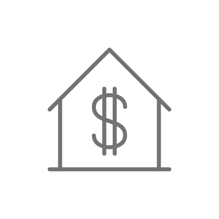Vector house with dollar sign, sale of apartment line icon. Symbol illustration design. Isolated on white background