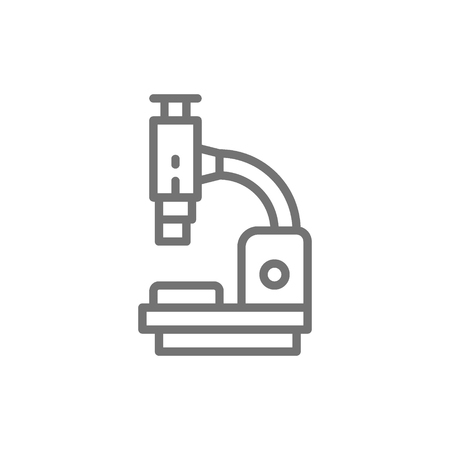 Vector microscope, medical equipment, lab research line icon. Symbol and sign illustration design. Isolated on white background