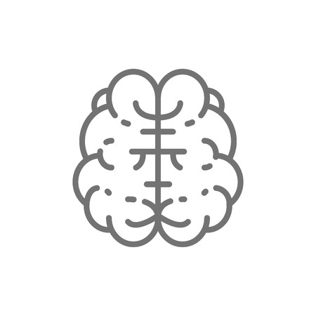 Vector brain, mind, intelligence, human organ line icon. Symbol and sign illustration design. Isolated on white background