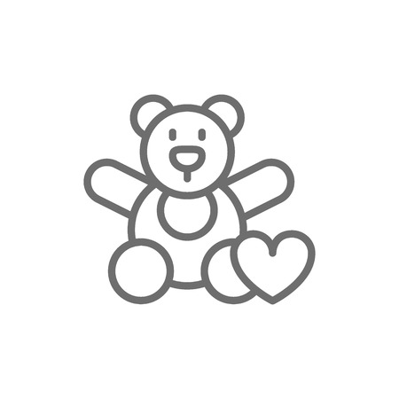 Vector bear toy, donation to children, volunteering for orphanages, charity line icon. Symbol and sign illustration design. Isolated on white background