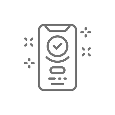 Vector smartphone display with successful checkmark, device verified, approved line icon. Symbol and sign illustration design. Isolated on white background Illustration