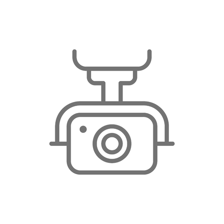 Vector action camera for drone, extreme video cam line icon. Symbol and sign illustration design. Isolated on white background Illustration
