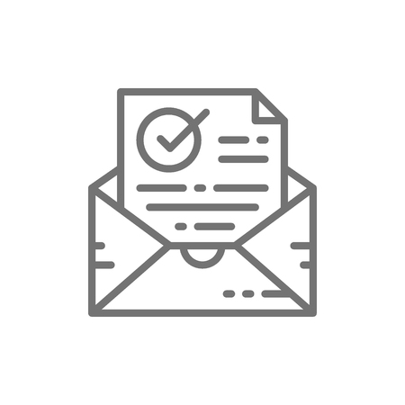 Vector confirmation letter, checked, envelope with document and check mark, successful e-mail delivery, verification line icon. Symbol and sign illustration design. Isolated on white background