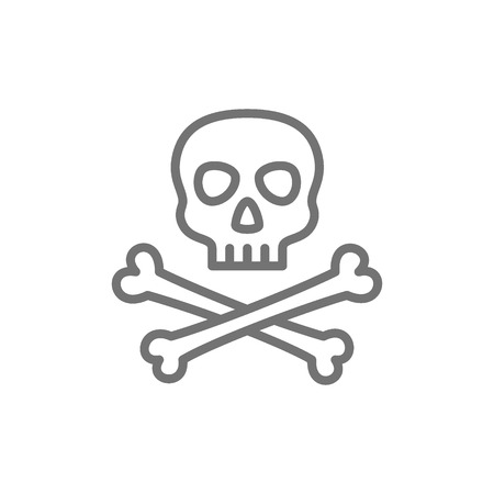 Vector pirate skull with crossbones line icon. Symbol and sign illustration design. Isolated on white background Illustration