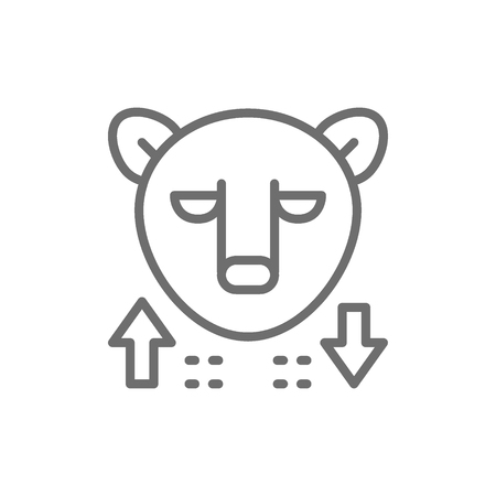Vector bear, stock market, finance trade line icon. Symbol and sign illustration design. Isolated on white background