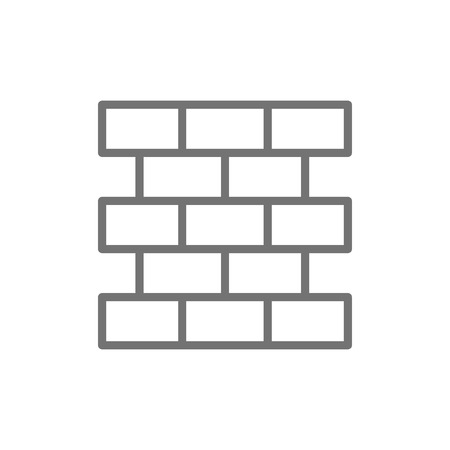 Vector bricks, wall, brickwork line icon. Symbol and sign illustration design. Isolated on white background
