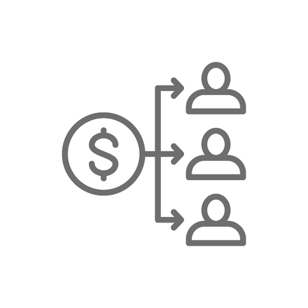 Vector income distribution, dividend payment, salary, money coin with people line icon. Symbol and sign illustration design. Isolated on white background