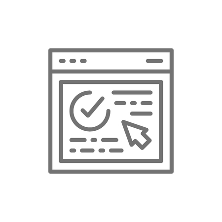 Authorization, approved web page, website with check mark line icon.