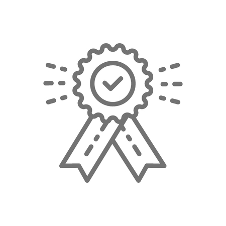 Vector award with check mark, best choice, quality control, winner, victory line icon. Symbol and sign illustration design. Isolated on white background