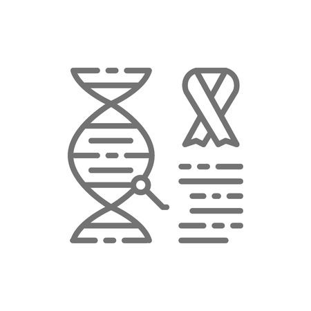 Vector dna molecule with cancer cells, malignant tumor, oncology line icon. Symbol and sign illustration design. Isolated on white background