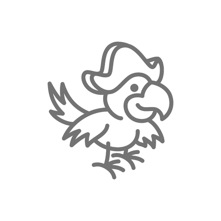 Vector pirate parrot, Ara bird line icon. Symbol and sign illustration design. Isolated on white background